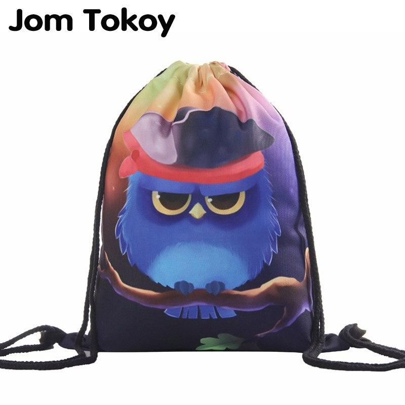Owl 3D Printing Women Classic Forever  Brand Mochila Escolar Man  Bags Travel Mochilas Drawstring Bag