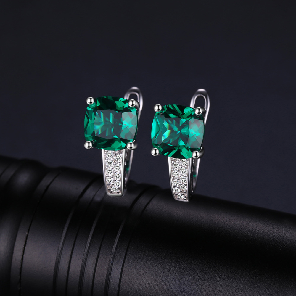 JewelryPalace Cushion 3.1ct Created Green Emerald Clip On Earrings 925 Sterling Silver Fine Jewelry for Women Accessories 3