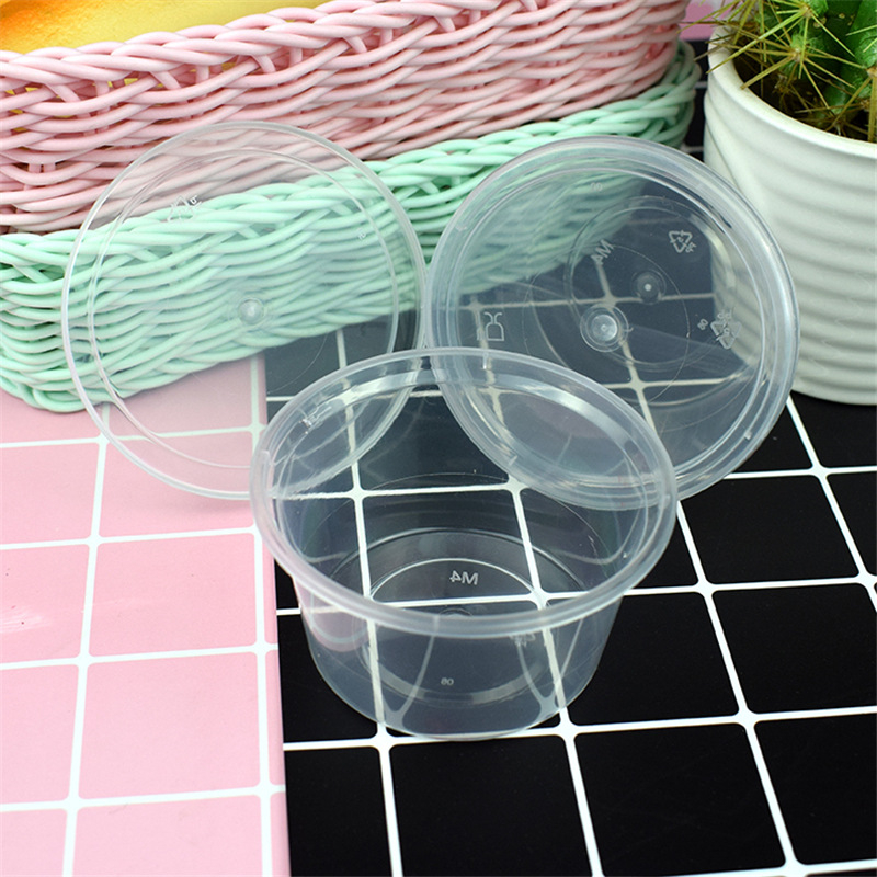 Happy Monkey 100ml 50pcs/Lot Slime Box New Plastic Transparent Slime Containers Storage Box With Lids For Fluffy Clear Slime