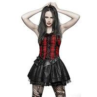 Новинка 2018 года Готическая Лолита дамы сладкий красный платье в клетку вечерние панк рок стиль формация костюмы Мода бандажный корсет