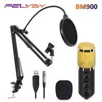 FELYBY bm 800 upgraded bm 900 Professional Studio USB Condenser Microphone for Computer Laptop Adjustable volume reverb mikrofon
