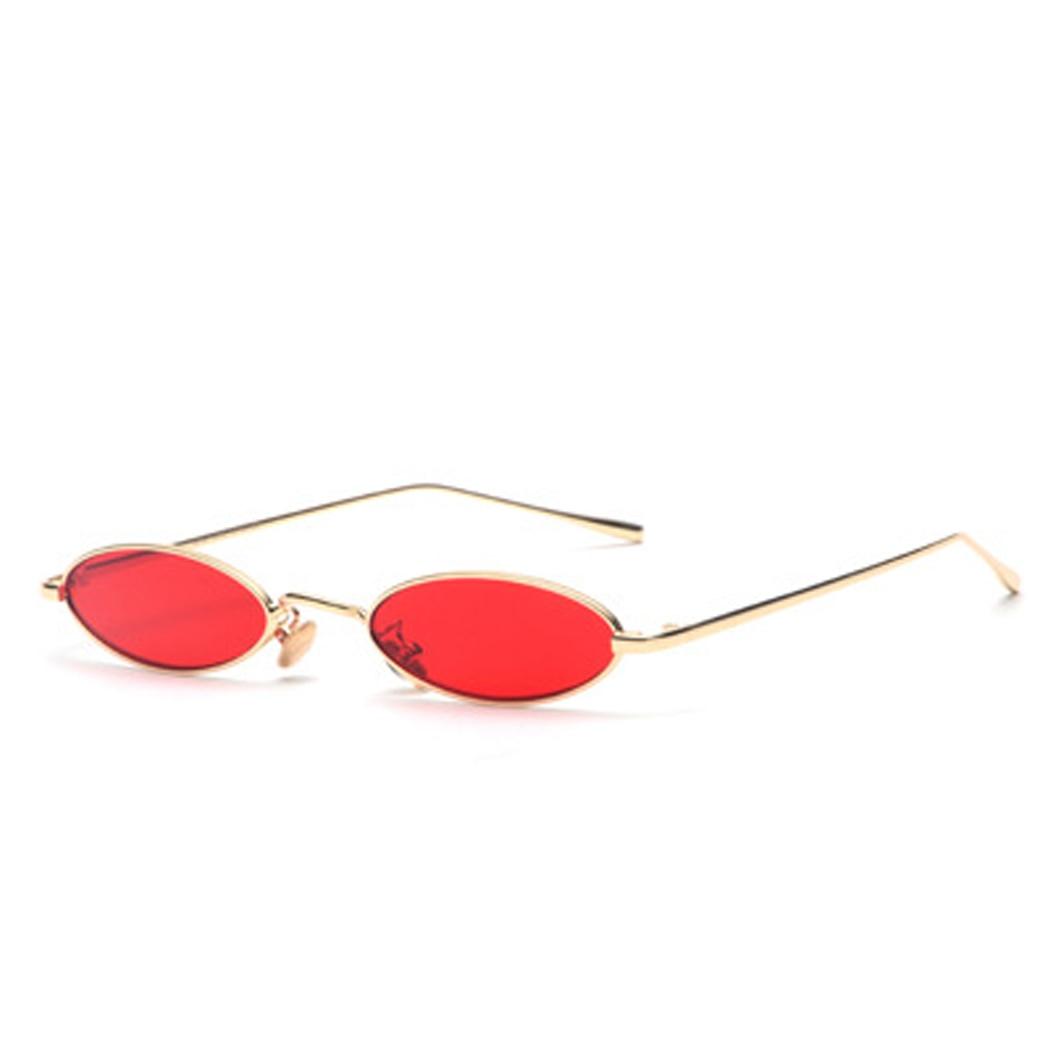 Super Small Skinny Sunglasses Oval Metal Frame Unisex Fashion UV 400