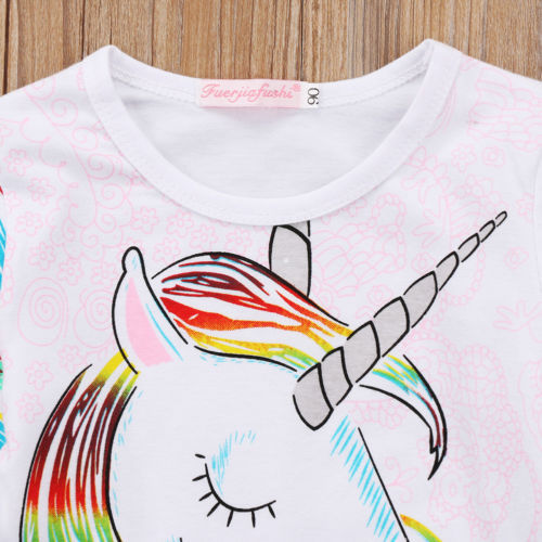 1-6T Unique Toddler Kids Girls Summer Casual O Neck Long Sleeve Unicorn Tops Cotton T-shirt Clothes 1
