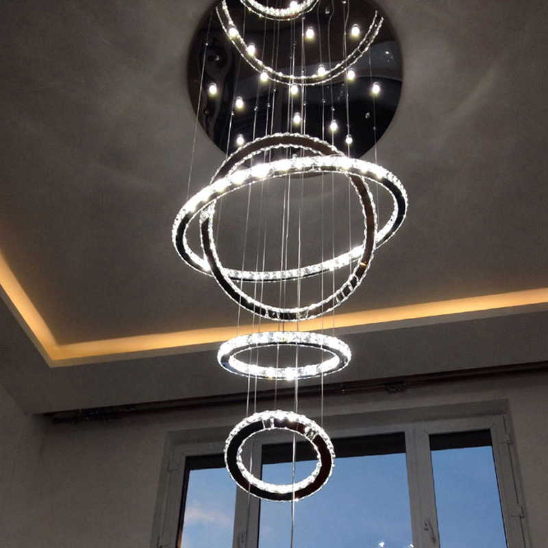 Chrome Modern chandelier lighting Crystals <font><b>Diamond</b></font> Ring LED Lamp Stainless Steel chandeliers for dining room Ceiling Fixtures
