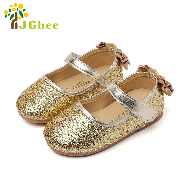 2017 Toddler Girls PU Leather Shoes Kids Flat Sequins Shiny With Bowtie on Back Shoes chaussure enfant mariage Party