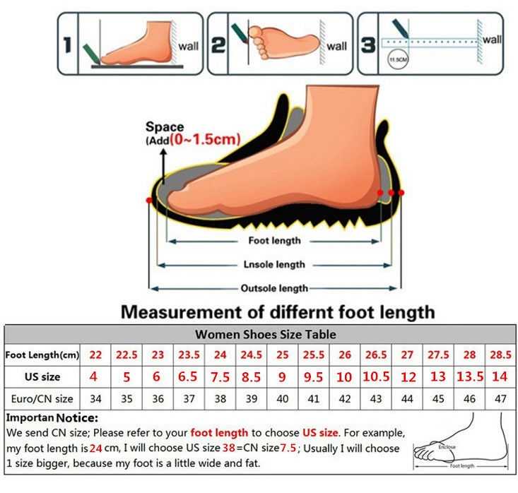 women shoes size