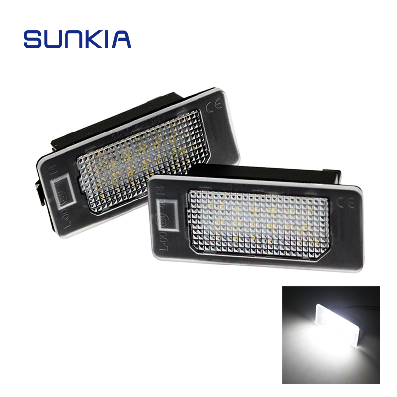 2pcs/set SUNKIA Super White 6000k Car LED Number License Plate Light Lamp Canbus for BMW E39 E60 E61 E70 E82 E90 E92 hopstyling 2pcs direct fit white 18 smd car led license plate light lamp for nissan teana j31 j32 maxima cefiro number light
