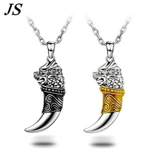 JS 2016 Vintage Wolf Fang Necklace Silver Nacklace Tribal Teen Wolf Neckless Colar Viking Pendant Mens Jewlery SN018(China)
