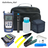 Fiber Optic FTTH Tool Kit with FC 6S Fiber Cleaver and Optical Power Meter OPM 30km Visual Fault Locator 30 mW VFL Wire stripper
