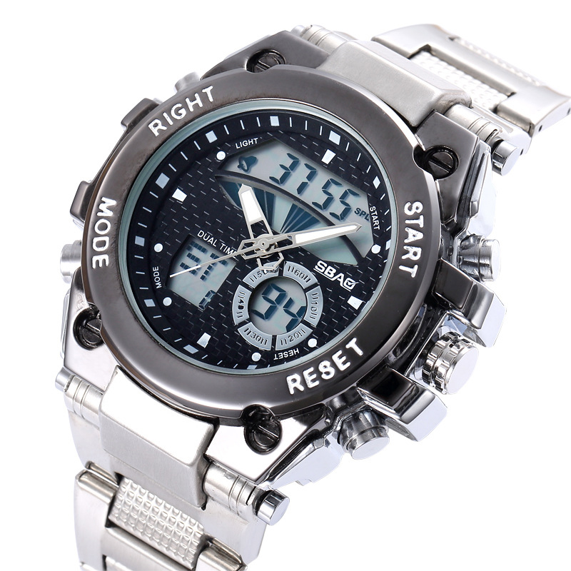 Business Men's Electronic Watch Steel Belt Watches Casual Fashion Digital Wristwatches Free Shipping Sale