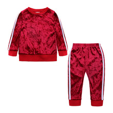2019 Girls Clothing Set Spring Autumn Velvet Clothes Baby Boy Tracksuit For Kids Clothes Toddler Girl Sport Suit 1 2 3 4 Years недорого