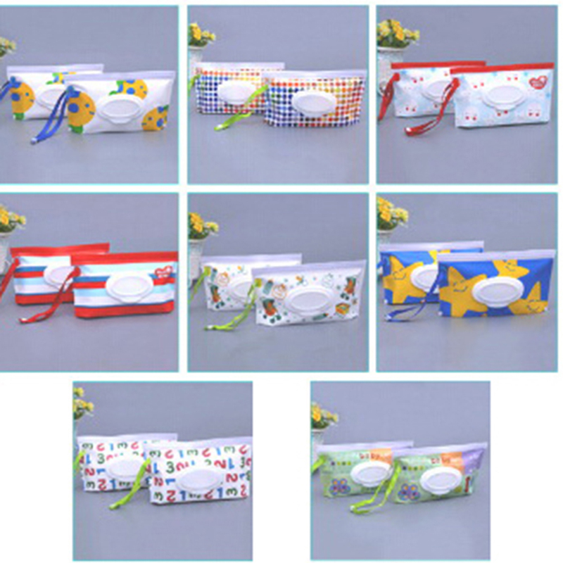 Easy-carry Wipes Container Eco-friendly Wet Wipes Bag Clean Wipes Carrying Case Clamshell Cosmetic Pouch Random Send