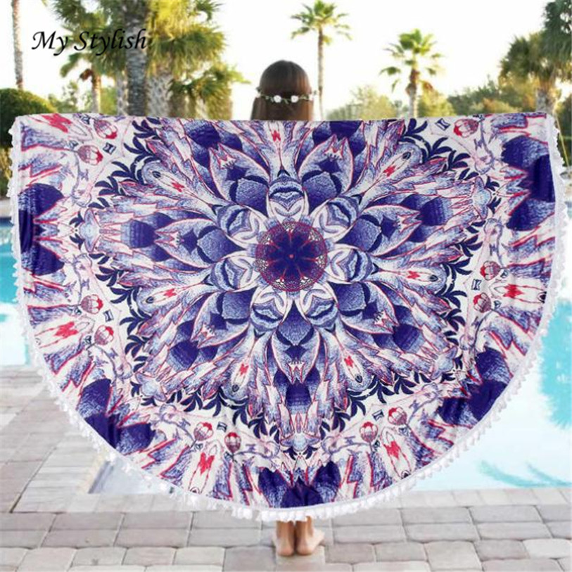 2017 New Fashion Durable Round Beach Pool Home Shower Towel Blanket Table Cloth Mat High Quality Jan 10