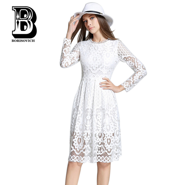 New 2016 Autumn Fashion Europe Style Long Sleeve Slim Women Casual Dress High Quality Hollow Out Lace Elegant Party Dresses H353