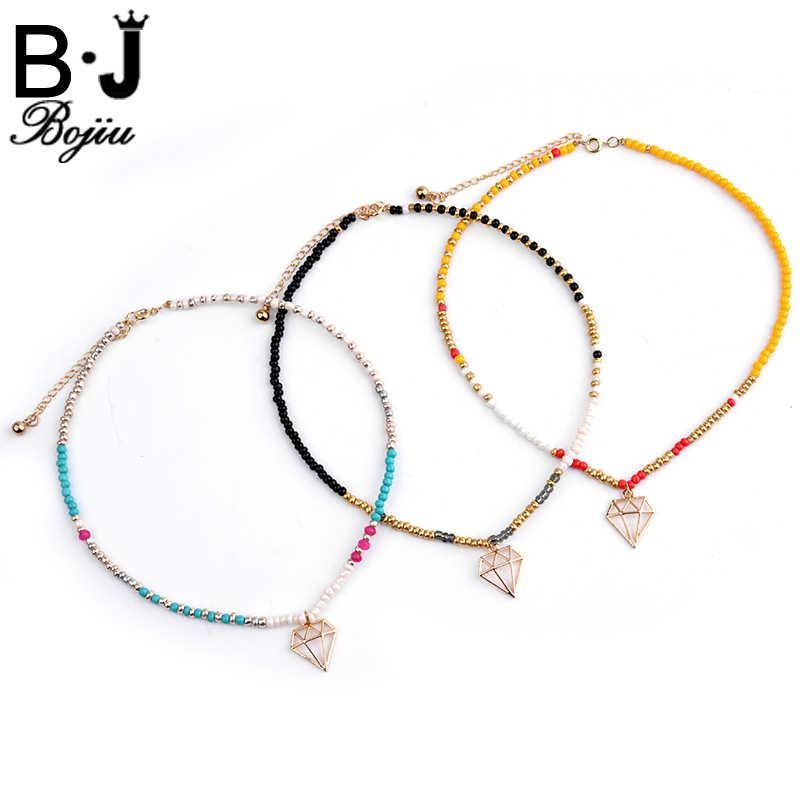 Bojiu Necklace For Women Energetic Colorful Seed Bead Pendant Necklace Exquisite Festival Gifts Fashion Jewelry NKS086
