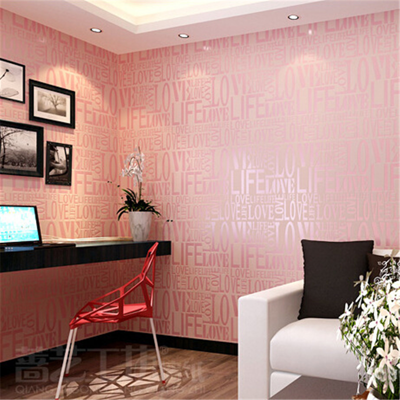Beibehang amour stéréo mode 3d anglais lettre papier peint moderne coréen non-tissé salon chambre TV fond papier peint