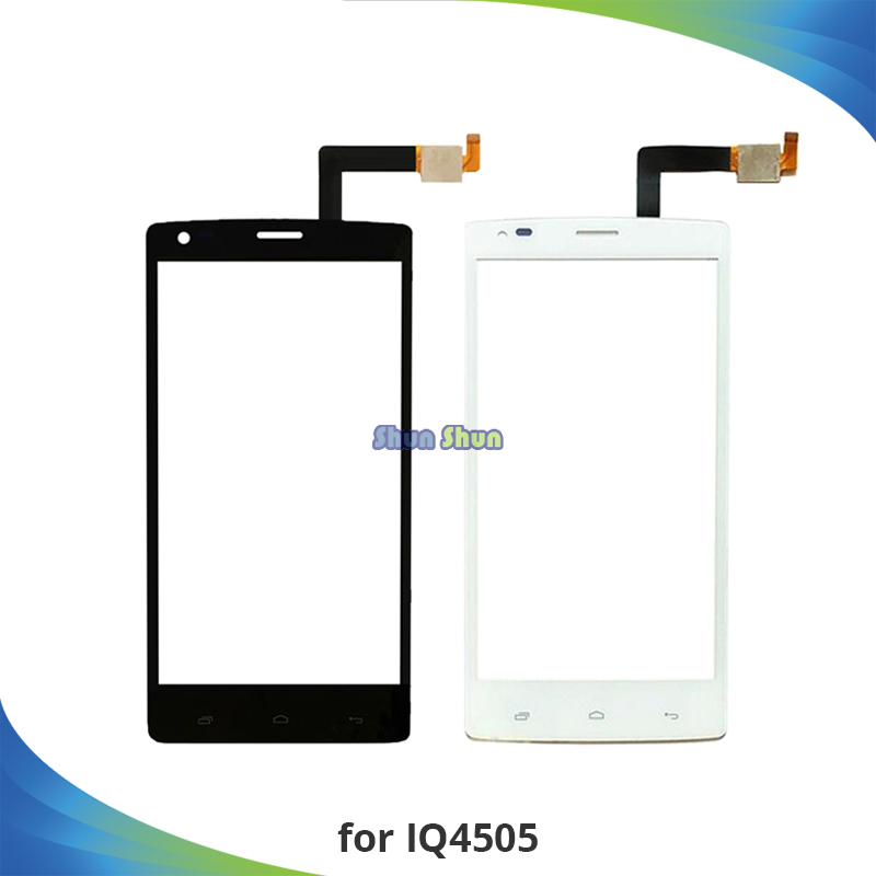 10pcs Screen for Fly IQ4505 Quad Era Life 7 IQ 4505 Touch Screen Digitizer Sensor Front Glass Lens Panel Black White Replacement