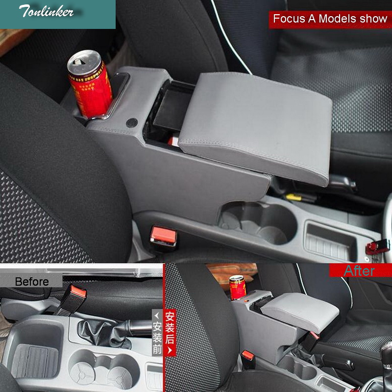 Tonlinker 1 PCS Car modification armrest box storage Chromium Styling Gear position stickers for Ford focus fiesta ecosport tonlinker 3 pcs diy car styling pu leather full surround special food mat cover case stickers for ford fiesta 2013 accessories