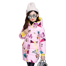 New Design Autumn Winter Long Jackets Baby Girls Cartoon Print Coat Kids Hooded Cotton Padded Down Jackets Girls Winter Clothes