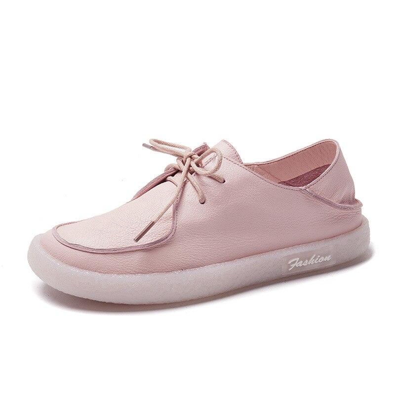 Excargo blanc chaussures femme automne Snikers pour femme baskets en cuir véritable noir baskets plat fond souple femmes enceintes chaussure