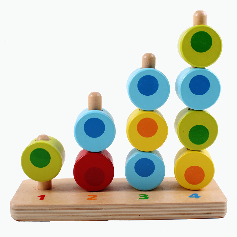 Toys & Hobbies Baby Montessori Materials Wooden Toys Three Colors Vertical Rings Colorful Calculate Circle Rounds Colorful Cylinder Socket Math