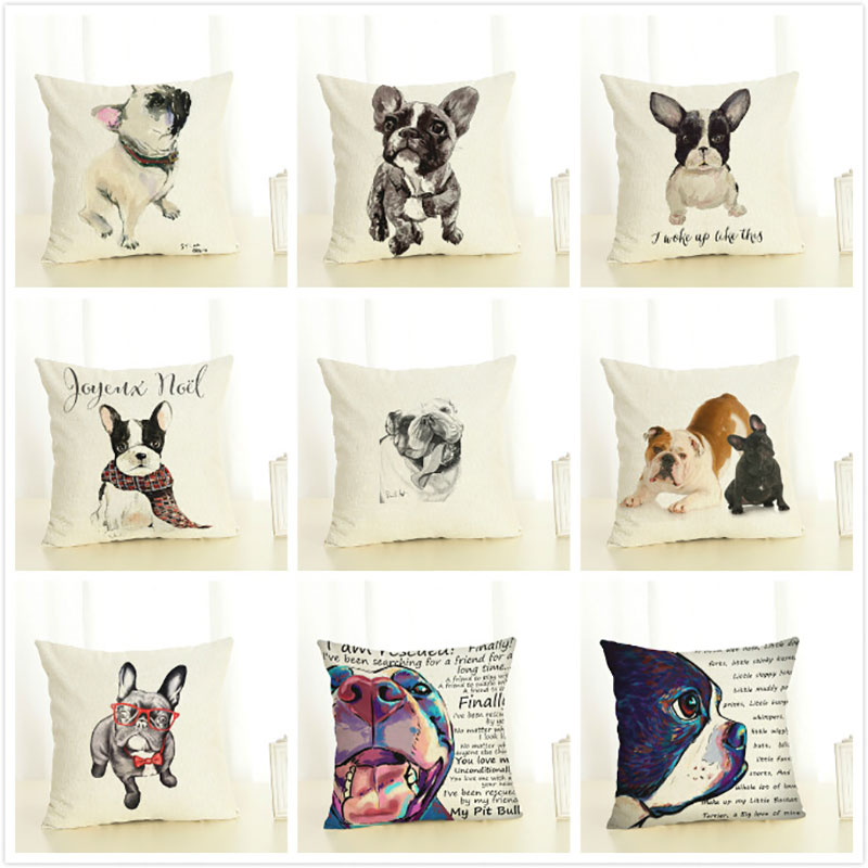 Digital Printed Linen Pillow Cover Decorative French Bull Themed Home Decoration Accessories Cute Dog Cushion Cover 45x45cm Home & Garden Table & Sofa Linens