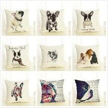 GZTZMY Dog Cushion Cover 45x45cm Pillow Cases Home Decor Animals French Bulldog Printing Cotton Linen Pillowcases linen seat cushion merry christmas pillow cover