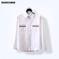 2018 Autumn and Winter New Plus Size Women Shirts Cotton Chifffon Korean Two Pocket Striped Asymmetry Hem 3XL 4XL Blouse Tops
