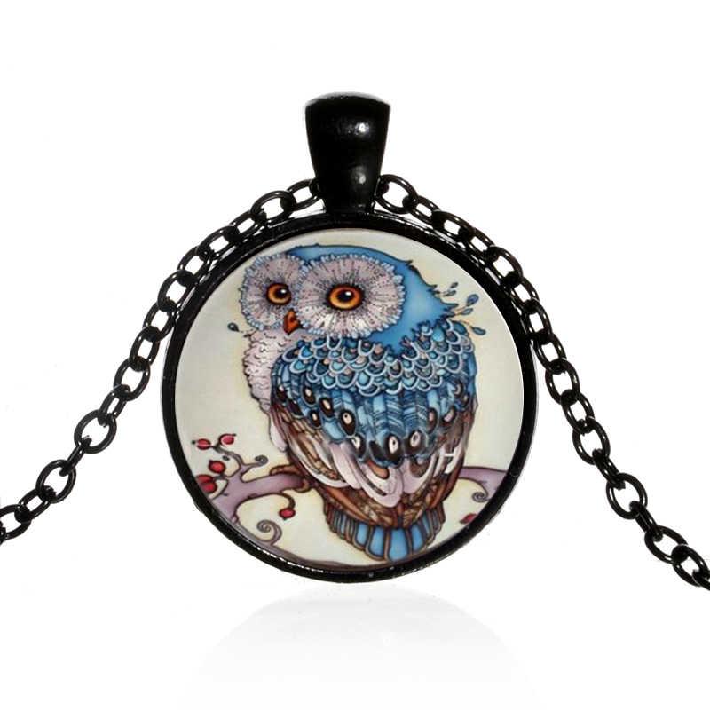 SONGDA Винтаж цвета сова кулон животное нашест для птиц на ожерелье ветка стеклянные купольные украшения 4 стиля для женщин свитер тканевая цепочка