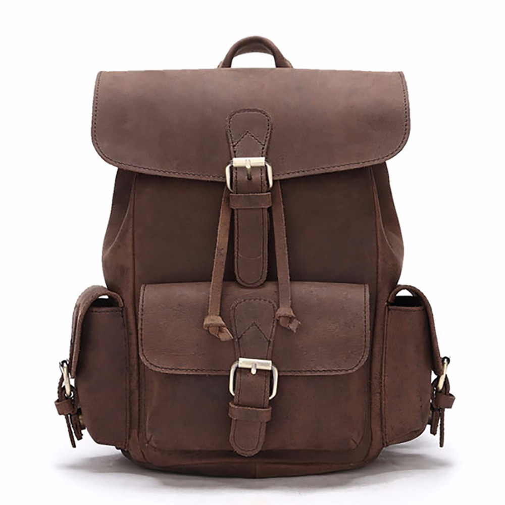 100% <font><b>Genuine</b></font> <font><b>Leather</b></font> Crazy Horse Cowhide Men <font><b>Backpack</b></font> Vintage Women Daypack School Satchel Travel <font><b>Unisex</b></font> Book Bags Rucksack image