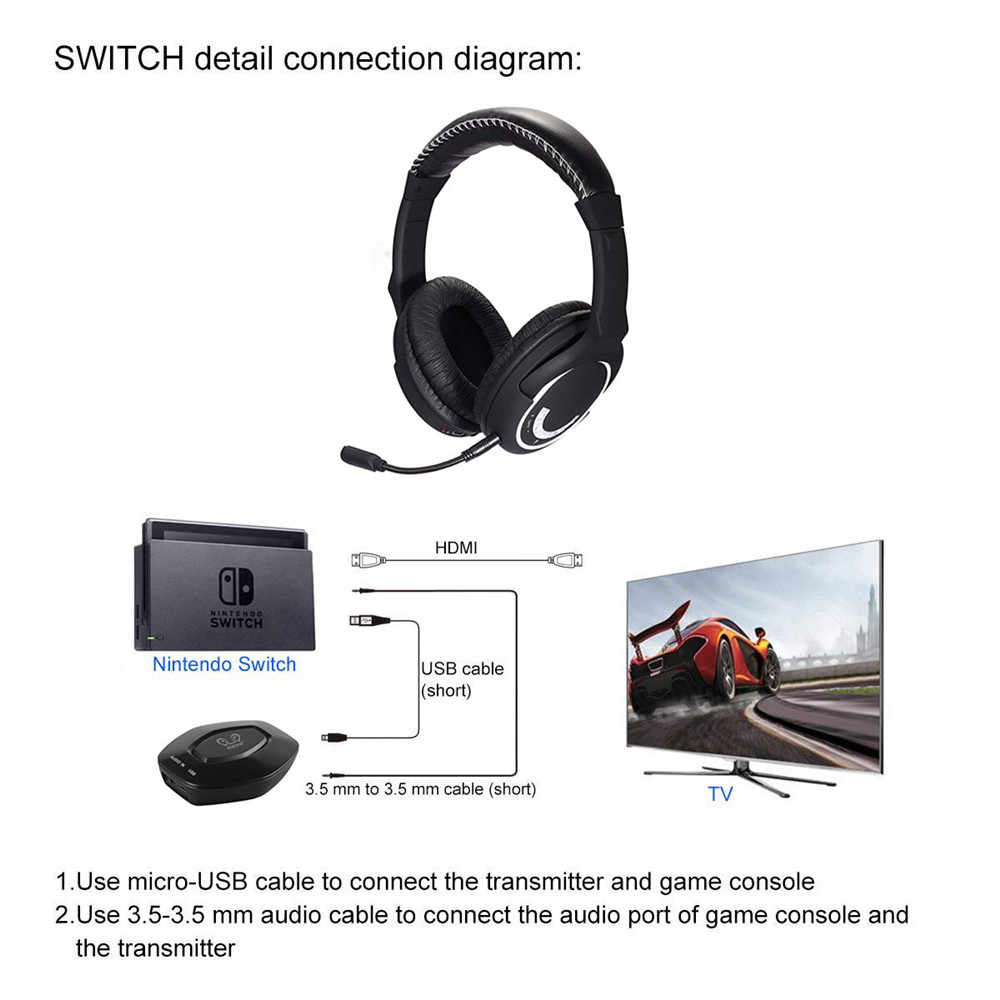 3837a561415 ... NEW HUHD HW-390S 2.4Ghz Wireless Gaming Headset Stereo Sound for nintendo  SWITCH PS4 ...