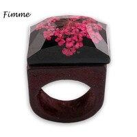 צורת כיכר שיבוץ טבעת עץ אופנה פרחים מיובשים מסתורי שרף תכשיטים בעבודת יד עיצוב חתונת טבעת אירוסין לנשים