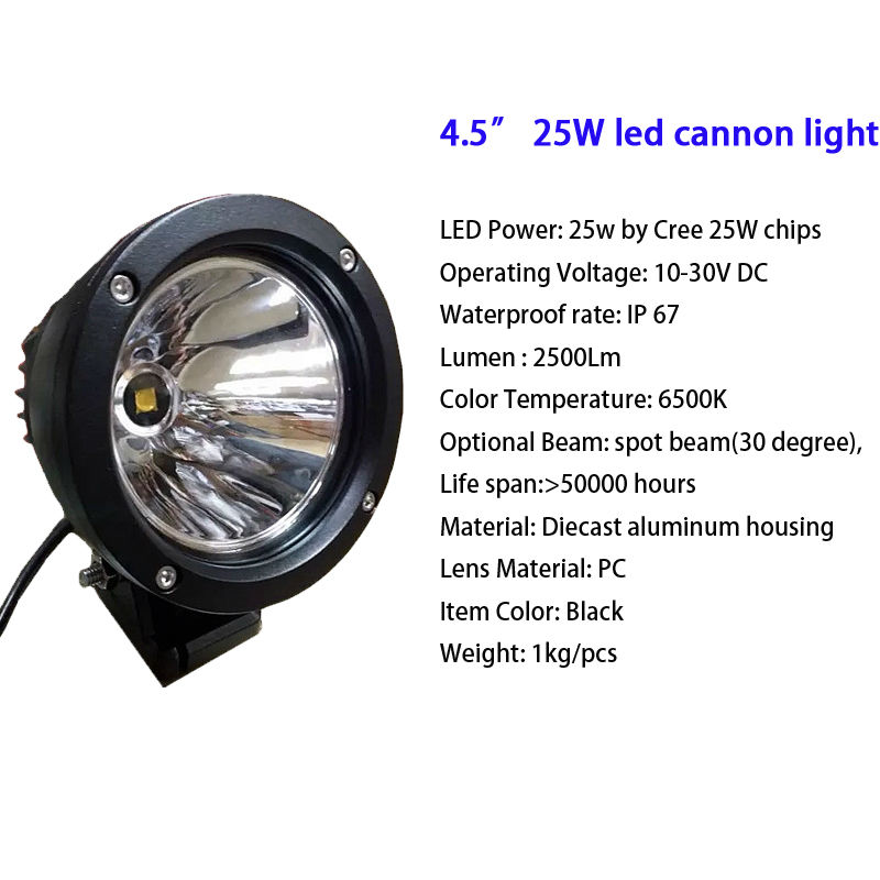 25W 3.6 inch Led Cannon Spot Driving Lights Work Lamp Offroad 4WD Truck Motorcycle Marine Boat Auto Car Styling Spotlights (2)