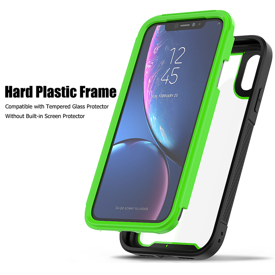 Shockproof Armor Silicone Case For iPhone 11 Pro XS Max Transparent Cases For iPhone 6 6S 7 8 Plus X XR Luxury TPU Acrylic Cover