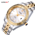 LONGBO Luxury Lovers Couple Watches Men Date Day Waterproof Women Gold Stainless Steel Quartz Wristwatch Montre Homme 80076