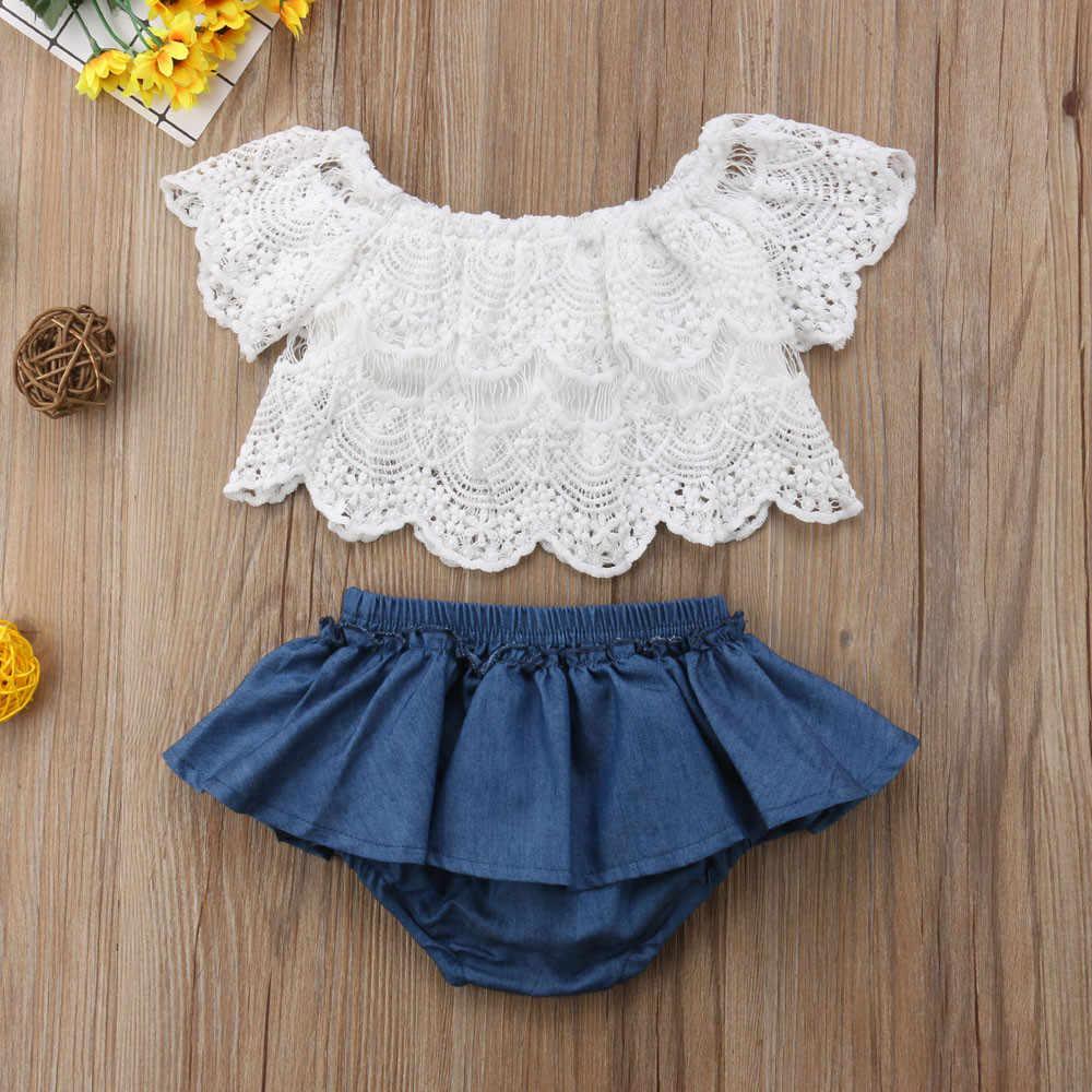2610cc25b Bebé niña encaje hombro Tops + pantalones cortos de mezclilla vestido  trajes ropa de niños conjuntos
