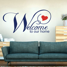 Welcome To Our Home Heart Wall Decal Living Room Kitchen Hello Quote Family Sticker Bedroom Vinyl Decor Art