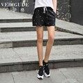 Вери güde цветочный принт хлопок льняные шорты для лето причинно стиль шнурок эластичный пояс