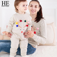2017 Family Christmas Outfits Clothing Mother Baby Matching Clothes Mother Sweater And Baby Knitted Romper Family