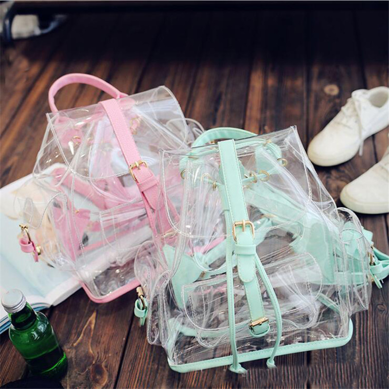 Women Transparent Backpacks Clear PVC Teenager Girls Zipper Student School Backpack Fashion Ita Teenage Girls Bags Drop Shipping