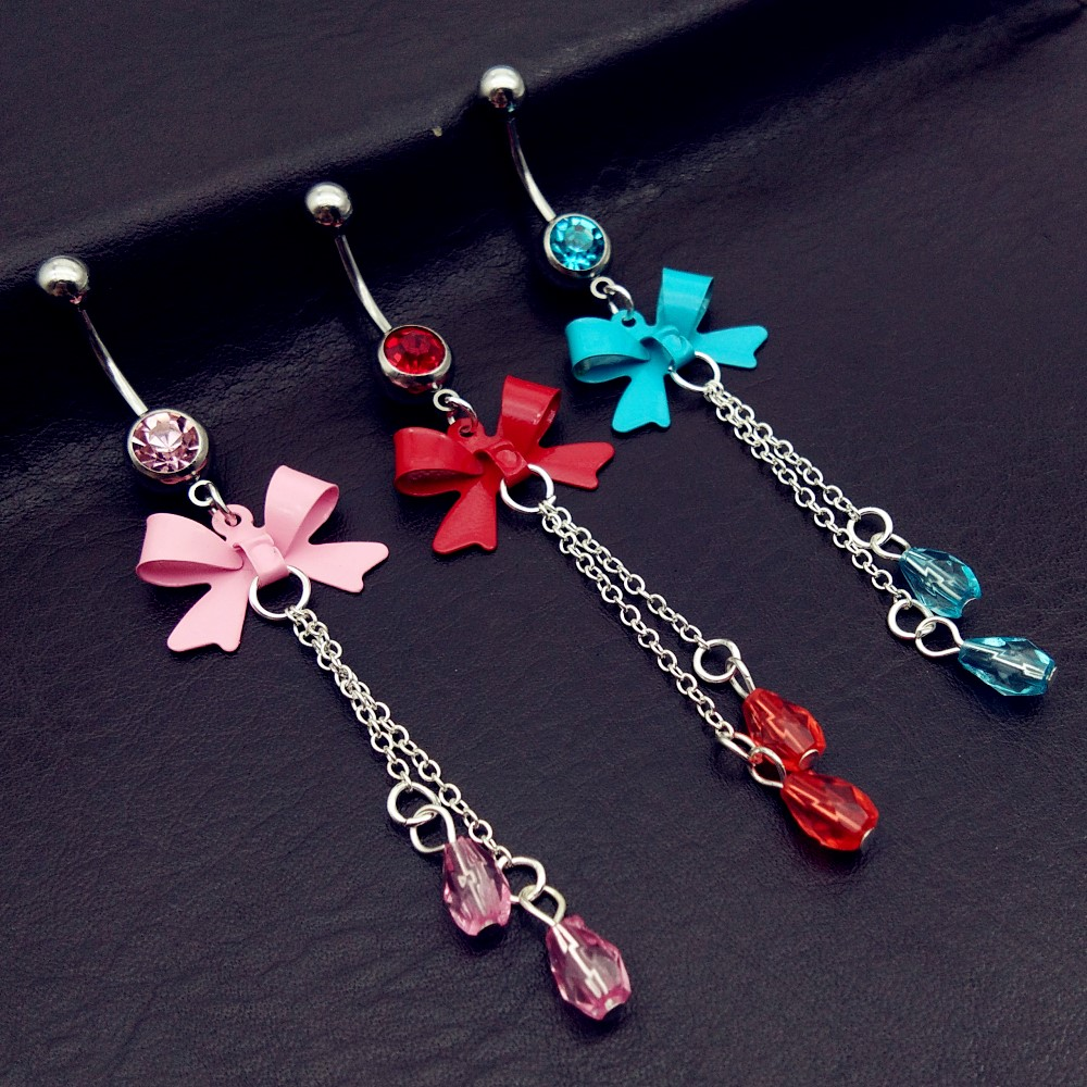 2017 Bow Tie Jewelry Belly Button Rings red/pink/blue Chain Piercing Navel piercing de umbigo com caveira free shipping