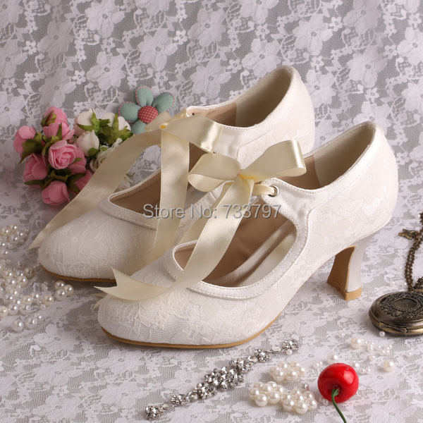 a9a861864 Wedopus Custom Handmade Plus Size Chunky Heel Lace Ribbon Wedding Party Shoes  Mary Jane