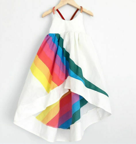 Summer Striped Colorful White Sling Rainbow Backless Asymmetrical Princess Baby Girls Dress Party Tutu Dress Irregular Dresses
