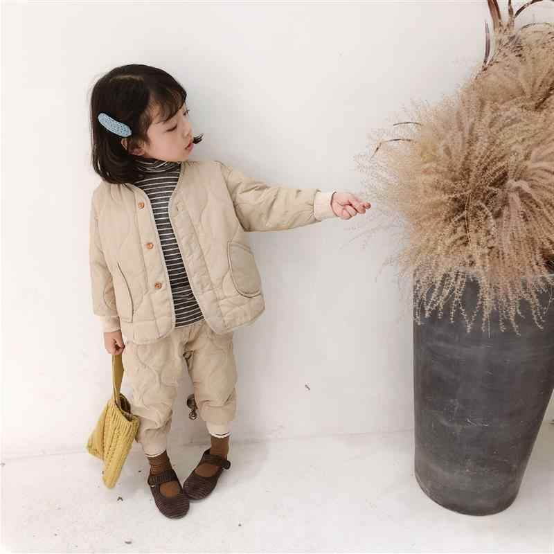 cc6fb12fa03 Winter Korean style fashion girls boys solid color thicken clothing sets kids  cotton-padded single