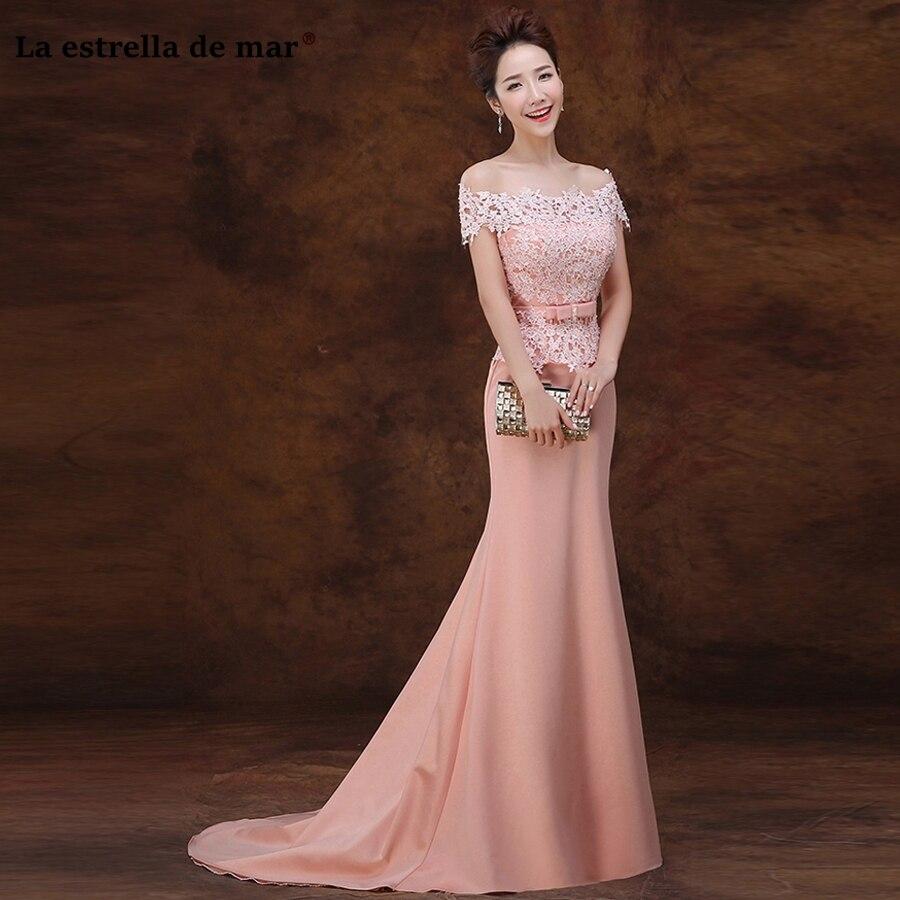 vestido madrinha 2020 neue boot-ausschnitt spitze kurzarm pfirsich rosa  sexy meerjungfrau brautjungfer kleider lange hochzeit kleid plus