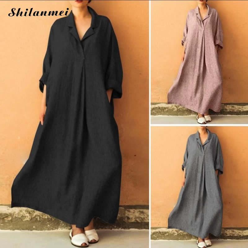 2019 Summer Plus Size Linen Cotton Shirt Dress Large Hem Design Long Style Casual Lady Dress Bohemian Women Solid Dress Vestido 100% Guarantee
