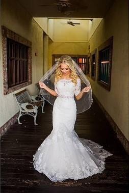 Mermaid Lace Half Sleeves Beaded Sash Covered Button Sweetheart Boho Wedding Dress Gown Sofuge Vestido De Noiva Dubai Arabic