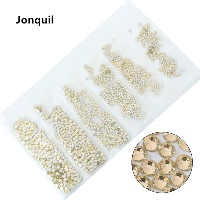 31 цвет, SS3-SS10, разные размеры, Хрустальные стеклянные стразы для дизайна ногтей, для 3D дизайна ногтей, стразы, украшения, драгоценные камни - Цвет: Jonquil
