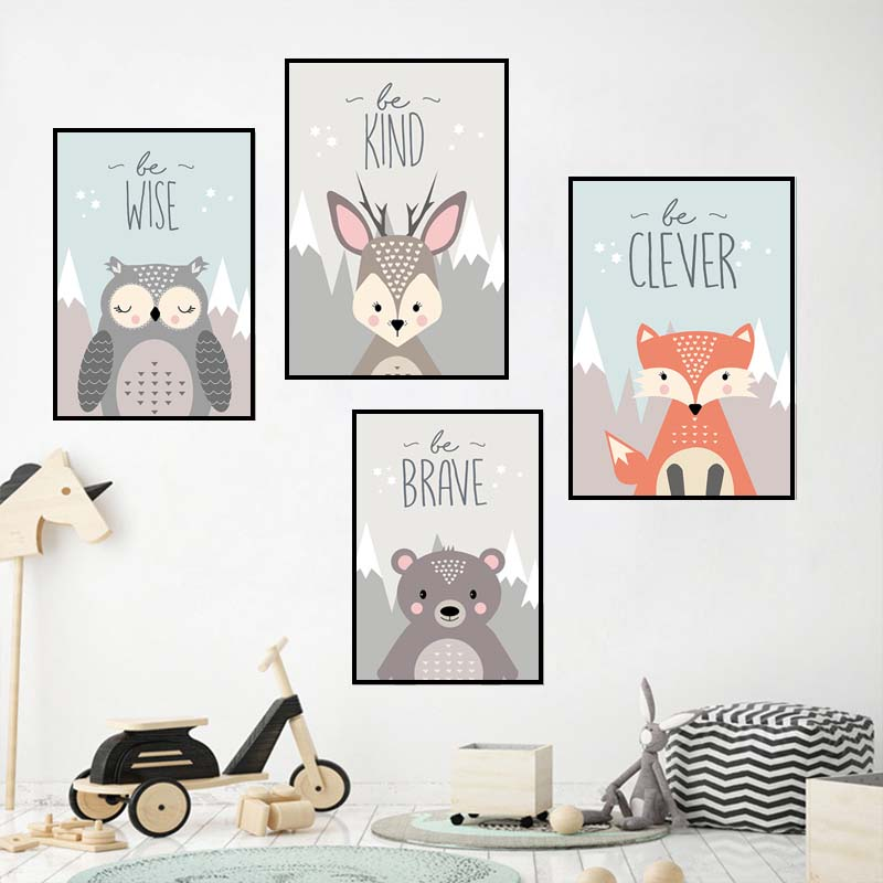 Popular Product  Woodland Animal Fox Bear Posters Nursery Prints Wall Art Canvas Painting Nordic Picture for Baby Ki