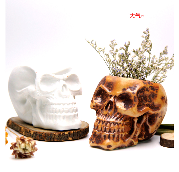 silicone mold 3d vase molds cement flower pots Skull Round flowerpot multi-meat flower planter mold